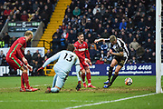 Notts County forward Jonathan Stead (30) scores his side's equalising goal to make the score 1-1 during the The FA Cup 4th round match between Notts County and Swansea City at Meadow Lane, Nottingham, England on 27 January 2018. Photo by Jon Hobley.