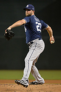 Sep 8, 2017; Phoenix, AZ, USA; San Diego Padres pitcher Jordan Lyles (27) throws a warm up pitch in the game against the Arizona Diamondbacks at Chase Field. Mandatory Credit: Jennifer Stewart-USA TODAY Sports