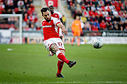 Rotherham United midfielder Richie Towell (17) gets in a shot during the EFL Sky Bet League 1 play off second leg match between Rotherham United and Scunthorpe United at the AESSEAL New York Stadium, Rotherham, England on 16 May 2018. Picture by Nigel Cole.
