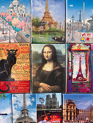 Detail of tourist fridge magnets with famous scenes  from Paris France