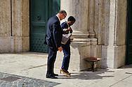 Roma 29 Aprile 2013.Il ministro dell'Integrazione Cecile Kyenge entra alla Camera dei Deputati dove si voto la fiducia al Governo Letta, e perde una scarpa