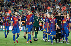 17.08.2011, Camp Nou, Barcelona, ESP, Supercup 2011, FC Barcelona vs Real Madrid, im Bild FC Barcelona's Eric Abidal, Cesc Fabregas, Gerard Pique, Victor Valdes, Adriano Correia, Andres Iniesta, Pedro Rodriguez, Jose Manuel Pinto, Thiago Alcantara and Alexis Sanchez celebrates the victory during Spanish Supercup 2nd match.August 17,2011. EXPA Pictures © 2011, PhotoCredit: EXPA/ Alterphotos/ Acero +++++ ATTENTION - OUT OF SPAIN / ESP +++++