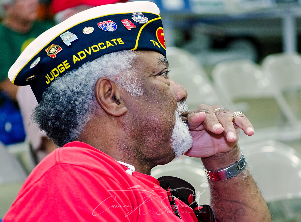 Alabama Dictrict Judge Advocate James Daniels listens as veterans share stories of their VA experiences during the Mobile SWS Town Hall at USS Alabama Battleship Memorial Park in Mobile, Ala., on Friday, April 3, 2017. (Photo by Carmen K. Sisson/Cloudybright)