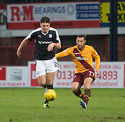 Dundee&rsquo;s Darren O&rsquo;Dea goes past Motherwell&rsquo;s Scott McDonald - Dundee v Motherwell, Ladbrokes Premiership at Dens Park <br /> <br />  - &copy; David Young - www.davidyoungphoto.co.uk - email: davidyoungphoto@gmail.com