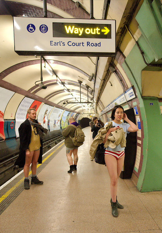 "London January 10th Members of the public on the London underground take part in "" No Pants on the subway"" a worldwide event in which travellers are invitaed today January 10th to travel on the underground without trousers . ...Standard Licence feee's apply  to all image usage.Marco Secchi - Xianpix tel +44 (0) 7717 298571.http://www.marcosecchi.com"