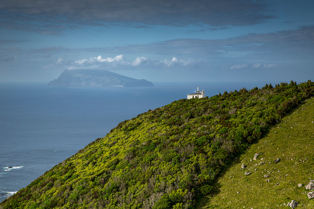 Church facing Corvo. Flores, Azores, Portugal
