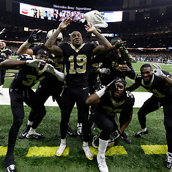 Jan 7, 2018; New Orleans, LA, USA; New Orleans Saints wide receiver Ted Ginn (19) and teammates react after defeating the Carolina Panthers in the NFC Wild Card playoff football game at Mercedes-Benz Superdome. Mandatory Credit: Derick E. Hingle-USA TODAY Sports