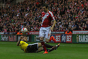 Kike gets away from Harlee Dean during the Sky Bet Championship Play Off Second Leg match between Middlesbrough and Brentford at the Riverside Stadium, Middlesbrough, England on 15 May 2015. Photo by Simon Davies.