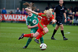 NEWPORT, WALES - Sunday, April 3, 2016: Wales' Morgan Rogers in action against Northern Ireland's captain Megan Bell during Day 3 of the Bob Docherty International Tournament 2016 at Dragon Park. (Pic by David Rawcliffe/Propaganda)