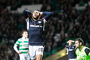 Dundee's Faissal El Bakhtaoui dismay after missing a golden chance to earn the Dark Blues a point at Celtic Park - Celtic v Dundee in the Ladbrokes Scottish Premiership at Celtic Park, Glasgow. Photo: David Young<br /> <br />  - © David Young - www.davidyoungphoto.co.uk - email: davidyoungphoto@gmail.com