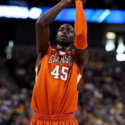 Mar 17, 2011; Tampa, FL, USA; Clemson Tigers forward/center Jerai Grant (45) against the West Virginia Mountaineers during the first half of the second round of the 2011 NCAA men's basketball tournament at the St. Pete Times Forum.  Mandatory Credit: Derick E. Hingle