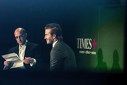 © Licensed to London News Pictures . 10/12/2013 . Manchester , UK . DAVID BECKHAM (right) inside the National Football Museum this evening (10th December 2013) during a Q&A hosted by Matthew Syed (left) of the Times newspaper . Photo credit : Joel Goodman/LNP