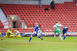 WREXHAM, WALES - Monday, May 2, 2016: The New Saints' Adrian Cieslewicz sees his shot saved against Airbus UK Broughton during the 129th Welsh Cup Final at the Racecourse Ground. (Pic by David Rawcliffe/Propaganda)