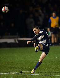 Bristol Fly-Half (#10) Adrian Jarvis kicks a Penalty during the second half of the match - Photo mandatory by-line: Rogan Thomson/JMP - Tel: Mobile: 07966 386802 25/01/2013 - SPORT - RUGBY - Memorial Stadium - Bristol. Bristol v Leeds Carnegie - RFU Championship.