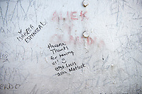 A message by a visiting American from St. Louis, scribbled on the wall at the top of Faro Castillo del Morro, a lighthouse located at the entrance to Havana Harbor. The lighthouse was built in the mid 1800s on the ramparts of the Castillo de los Tres Reyes Magos del Morro, an old fortress guarding the harbor of Havana.