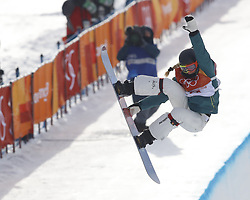 February 12, 2018 - Pyeongchang, KOREA - Emily Arthur (AUS) competes in run two in the ladies halfpipe qualification during the Pyeongchang 2018 Olympic Winter Games at Phoenix Snow Park. (Credit Image: © David McIntyre via ZUMA Wire)