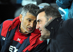 Swansea City First team head  coach Joao Mario speaks with Swansea City manager Carlos Carvalhal before kick-off - Mandatory by-line: Nizaam Jones/JMP - 06/02/2018 - FOOTBALL - Liberty Stadium - Swansea, Wales - Swansea City v Notts County - Emirates FA Cup fourth round proper