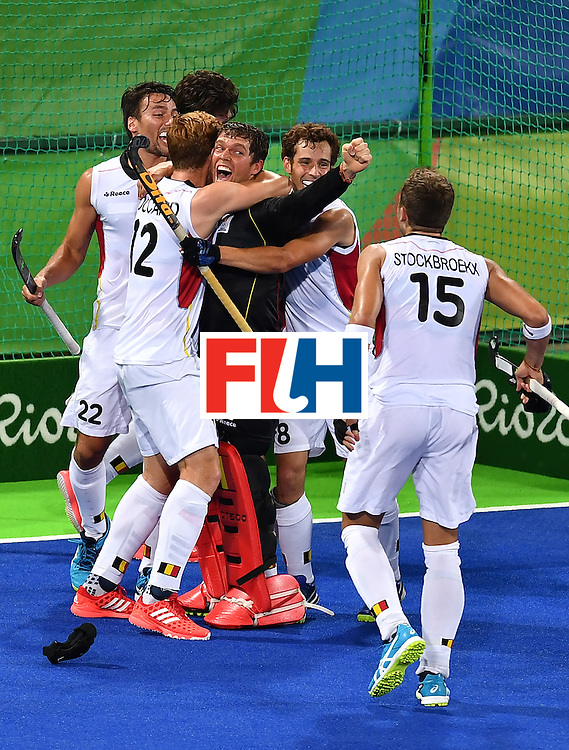 Belgium's players celebrate after winning the men's semifinal field hockey Belgium vs Netherlands match of the Rio 2016 Olympics Games at the Olympic Hockey Centre in Rio de Janeiro on August 16, 2016. / AFP / MANAN VATSYAYANA        (Photo credit should read MANAN VATSYAYANA/AFP/Getty Images)