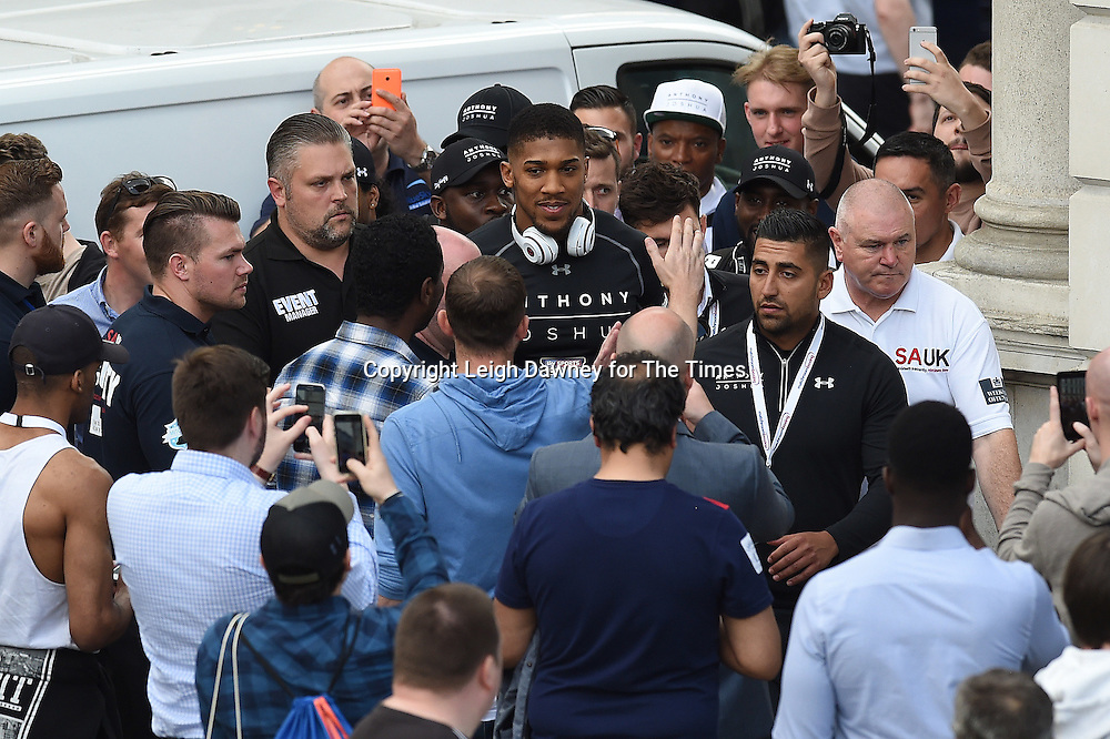 Anthony Joshua makes his way to the main stage ahead of his weigh in against Dominic Breazeale at the West Piazza, Covent Garden, London on the 24th June 2016. © Leigh Dawney for The Times.