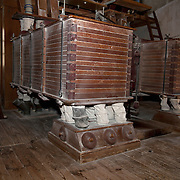 Flour mill machine, the oldest existing Plansichter in France,  PRN the Livradois-Forez, St. Dier d'Auvergne, Auvergne, France