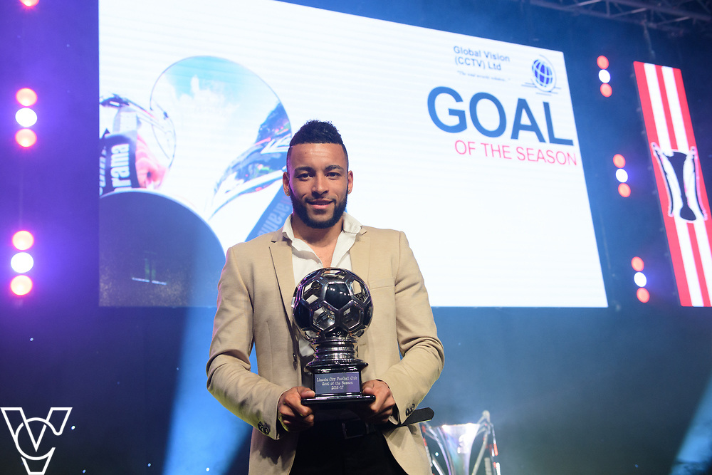 Lincoln City Football Club's 2016/17 End of Season Awards night - Championship Seasons Awards Dinner - held at the Lincolnshire Showground.<br /> <br /> GOAL OF THE SEASON:  Nathan Arnold with the goal of the season award, sponsored by Global Vision.<br /> <br /> Picture: Chris Vaughan Photography for Lincoln City Football Club<br /> Date: May 20, 2017