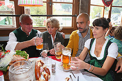 05.10.2014, Theresienwiese, München, GER, 1. FBL, FC Bayern Muenchen am Oktoberfest, im Bild Karl-Heinz Rummenigge (L), CEO of FC Bayern Muenchen attends with his wife Martina Rummenigge and head coach Josep Guardiola and his wife Cristina Guardiola the Oktoberfest beer festival at Kaefer Wiesnschaenke tent at Theresienwiese on 2014/10/05. EXPA Pictures © 2014, PhotoCredit: EXPA/ Eibner-Pressefoto/ Pool<br /> <br /> *****ATTENTION - OUT of GER*****