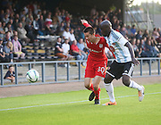 Dundee's Cammy Kerr and Hearts' Morgano Gomis - Dundee v Hearts, preseason friendly at Dens Park<br /> <br />  - &copy; David Young - www.davidyoungphoto.co.uk - email: davidyoungphoto@gmail.com