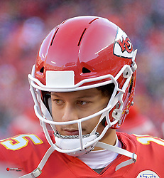 Dec 9, 2018; Kansas City, MO, USA; Kansas City Chiefs quarterback Patrick Mahomes (15) watches play from the sidelines during the second half against the Baltimore Ravens  at Arrowhead Stadium. Mandatory Credit: Denny Medley-USA TODAY Sports