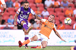 January 18, 2018 - Brisbane, QUEENSLAND, AUSTRALIA - Diego Castro of the Glory (#17, left) and Ivan Franjic of the Roar (#77) compete for the ball during the round seventeen Hyundai A-League match between the Brisbane Roar and the Perth Glory at Suncorp Stadium on January 18, 2018 in Brisbane, Australia. (Credit Image: © Albert Perez via ZUMA Wire)