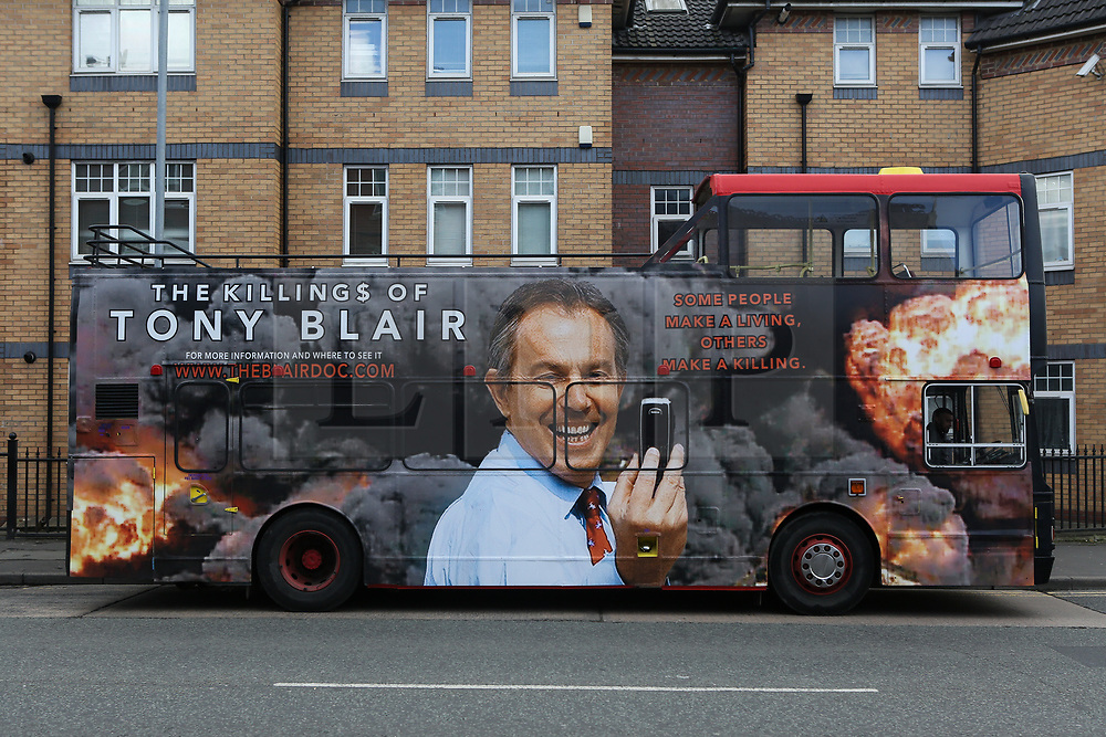 © Licensed to London News Pictures. 01/04/2017. Manchester, UK. George Galloway's double decker bus promoting his film titled 'The killings of Tony Blair'. Today Galloway launched his campaign HQ in the Gorton Manchester by-election. The former Labour and Respect MP is running as an independent in the by-election that was triggered after the death of the long serving Labour MP Sir Gerald Kaufman last month. Labour's candidate Afzal Khan is facing stiff competition not only from George Galloway but also the Liberal Democrats. Photo credit : Ian Hinchliffe/LNP