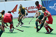 Kelley Madsen during the women's hockey match of the The Commonwealth Games between South Africa and Trinidad and Tobago held at the Stadium in New Delhi, India on the  October 2010..Photo by:  Ron Gaunt/SPORTZPICS/PHOTOSPORT