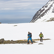 Petri Kurki and Kai Kantanen in Hlöðuvík, Iceland.<br /> <br /> Images from an ski touring adventure to Jökulfirðir, a series of fjords in west Iceland, with Bergmenn Mountain Guides and Borea Adventures. The tour takes skiers from fjord to fjord with the sail boat Aurora as a overnight base.