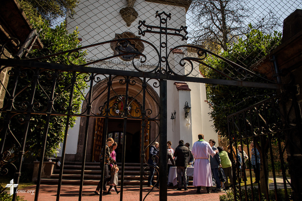 Church members and visitors gather for fellowship following worship at the Lutheran Church of The Good Shepherd on Sunday, Jan. 15, 2017, in Mexico City. LCMS Communications/Erik M. Lunsford