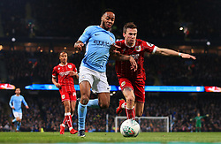 Raheem Sterling of Manchester City takes on Joe Bryan of Bristol City  - Mandatory by-line: Matt McNulty/JMP - 09/01/2018 - FOOTBALL - Etihad Stadium - Manchester, England - Manchester City v Bristol City - Carabao Cup Semi-Final First Leg