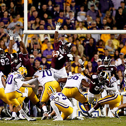 November 10, 2012; Baton Rouge, LA, USA;  LSU Tigers kicker Drew Alleman (30) kicks a field goal during the first half of a game against the Mississippi State Bulldogs at Tiger Stadium.  Mandatory Credit: Derick E. Hingle-US PRESSWIRE