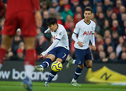 LIVERPOOL, ENGLAND - Sunday, October 27, 2019: Tottenham Hotspur's Son Heung-min shoots during the FA Premier League match between Liverpool FC and Tottenham Hotspur FC at Anfield. (Pic by David Rawcliffe/Propaganda)