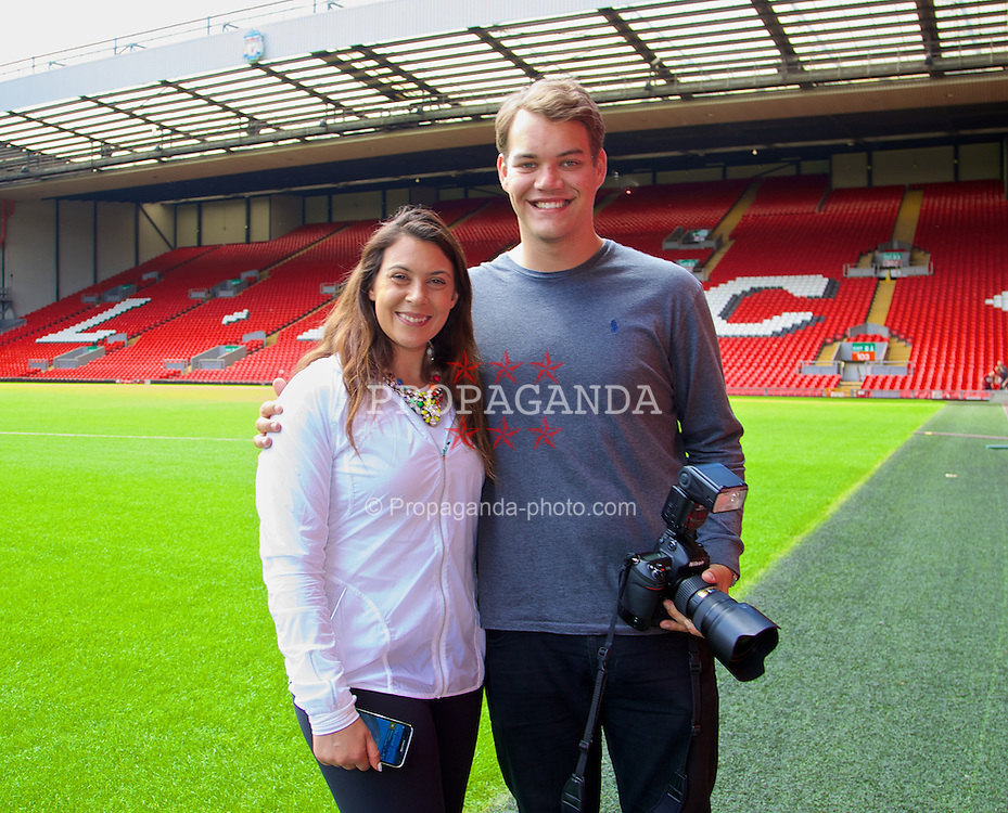 LIVERPOOL, ENGLAND - Saturday, June 21, 2014: Wimbledon champion Marion Bartoli with Andrew Powell on a visit to Anfield during Day Three of the Liverpool Hope University International Tennis Tournament. (Pic by David Rawcliffe/Propaganda)