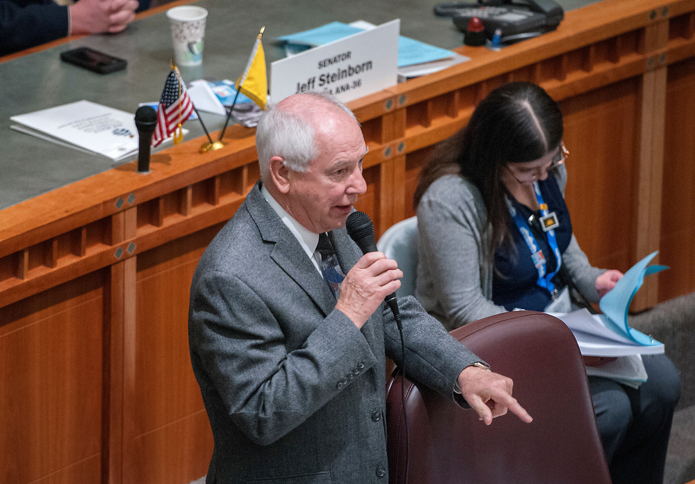 em020718b/a/Sen. Jim White, R-Albuquerque, answers question during debate of his bill to help resolve some issues with guardianships in New Mexico. The bill passed out of the Senate and is on its way to the House, Wednesday February 7, 2018.   (Eddie Moore/Albuquerque Journal)