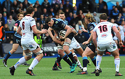 Steve Shingler of Cardiff Blues is is held back by Charles Piutau of Ulster Rugby - Mandatory by-line: Nizaam Jones/JMP- 24/03/2018 - RUGBY - BT Sport Cardiff Arms Park- Cardiff, Wales - Cardiff Blues v Ulster Rugby - Guinness Pro 14
