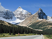 See Mount Athabasca (left, 3491 meters or 11,453 feet) from Icefields Parkway near Sunwapta Pass in Banff National Park, Alberta, Canada. This is part of the big Canadian Rocky Mountain Parks World Heritage Site declared by UNESCO in 1984.