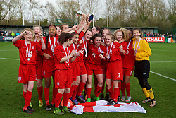 NEWPORT, WALES - Monday, April 4, 2016: England players celebrate winning the Bob Docherty Tournament 2016 following a 1-0 victory over Republic of Ireland during the Final on day four of the Bob Docherty International Tournament 2016 at Dragon Park. Megan Hunt, Chloe Ryan, Jodie Hutton, Maya Le Tissier, Ellie Hack, Claudi Zahui, goalkeeper Olivia Clark, goalkeeper Rose Kite, Asmita Ale, Samarczuz Sinead, Holly Manders, Katie Robinson, Libby Smith, Charlotte Fleming, Sophie Quirk, Lucy Egan. (Pic by David Rawcliffe/Propaganda)