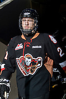 KELOWNA, CANADA, JANUARY 1: Josh Thrower #21 of the Calgary Hitmen enters the ice as the Calgary Hitmen visit the Kelowna Rockets on January 1, 2012 at Prospera Place in Kelowna, British Columbia, Canada (Photo by Marissa Baecker/Getty Images) *** Local Caption ***