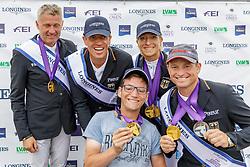 Team Deutschland<br /> Luhmühlen - LONGINES FEI Eventing European Championships 2019<br /> DIBOWSKI ANDREAS (GER), RÜDER Kai (GER), KLIMKE Ingrid (GER), JUNG Michael (GER)<br /> Siegerehrung Europameisterschaft Team Finale / Mannschaftsentscheidung<br /> 01. September 2019<br /> © www.sportfotos-lafrentz.de/Stefan Lafrentz