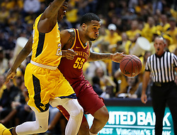 Feb 24, 2018; Morgantown, WV, USA; Iowa State Cyclones forward Jeff Beverly (55) drives towards the basket during the first half against the West Virginia Mountaineers at WVU Coliseum. Mandatory Credit: Ben Queen-USA TODAY Sports