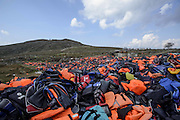 March 17, 2016 - Lesbos, Greece - <br /> <br /> A hill of life jackets on Lesbos<br /> <br /> Thousands of life jackets from refugees and migrants form a small hill on the island of Lesbos, Greece on March 17, 2016. <br /> ©Exclusivepix Media