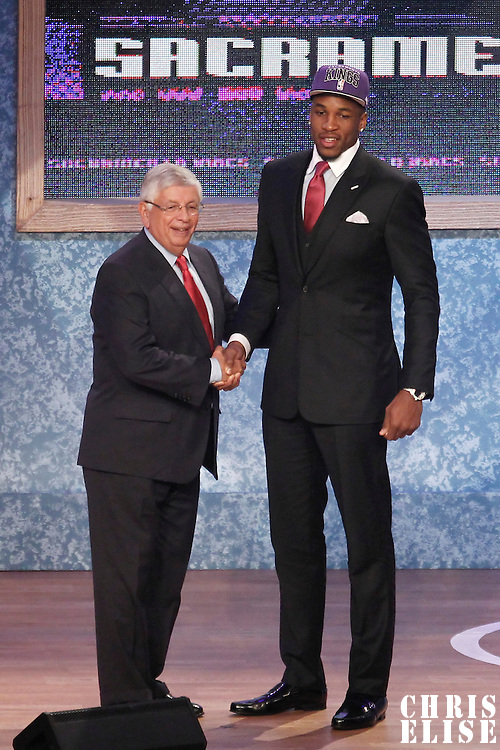 28 June 2012: Thomas Robinson, picked up by the Sacramento Kings, poses with David Stern during the 2012 NBA Draft, at the Prudential Center, Newark, New Jersey.