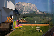 Back garden kindergarten toys in Leonhard-St Leonardo, a Dolomites village in south Tyrol, Italy.