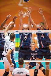 06-09-2018 NED: Netherlands - Argentina, Doetinchem<br /> First match of Gelderland Cup / Nimir Abdelaziz #14 of Netherlands, Jasper Diefenbach #6 of Netherlands, Thijs ter Horst #4 of Netherlands