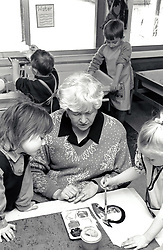 Art class, primary school Nottingham UK 1995