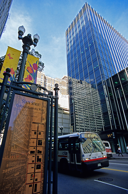 Image of downtown State Street in Chicago, Illinois, American Midwest